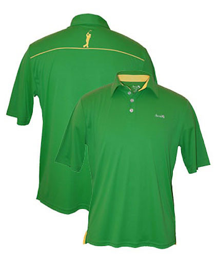 Limited edition Arnie polo shirt, inspired by the classic style of Arnold Palmer, especially created for the 2012 Masters Tournament--polyester-spandex blend with quick-drying technology, in Masters green and yellow, with a silhouette of a Palmer follow-through on the rear placket. To be worn by Ryan Moore during the Masters. Available at golfsmith.com ($85).