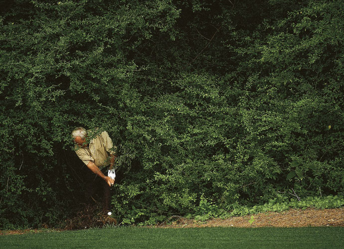 "7. Arnold Palmer                             Playing his last Masters in 2002, Palmer remembered his father Deacon's advice: ""When I was a youngster, he showed me how to grip the club and told me to hit the hell out of the ball."" That occasionally led to finding trouble, which Palmer handled on the way to his seven major victories."
