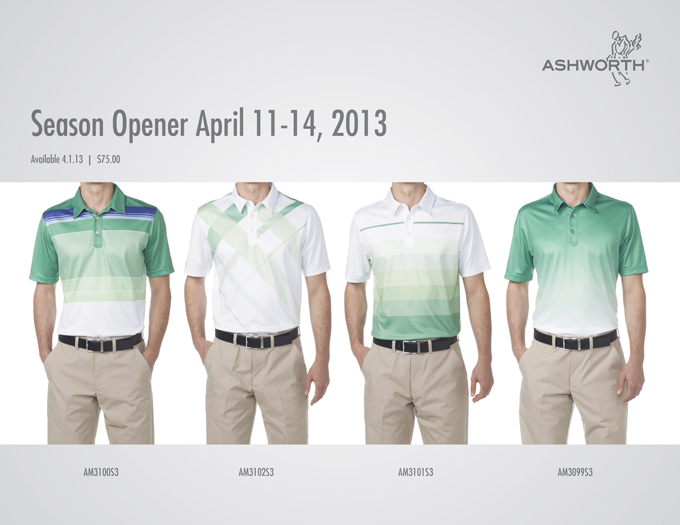 Stewart Cink, Michael Thompson and Fred Couples will be dressed in Ashworth's limited edition Masters apparel, and what could be better than a collection of varying shades of green for Augusta? I also like the youthful prints. It will be fun to see Fred in an ombre print.
