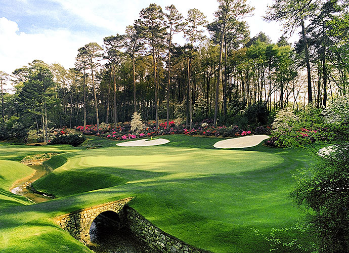 2. Augusta National Golf Club, Augusta, Ga., No. 13, par-5: Co-designer and Grand Slam winner Bobby Jones loved the concept of a par 4-and-a-half. No better version exists than this creek-guarded, risk/reward gem. At 510 yards, distance isn't the issue. Striking two (or three) precise shots is paramount, the second from a sidehill lie. Its springtime backcloth of brilliant azaleas and four huge white sand bunkers comprise the most attractive framing in golf.