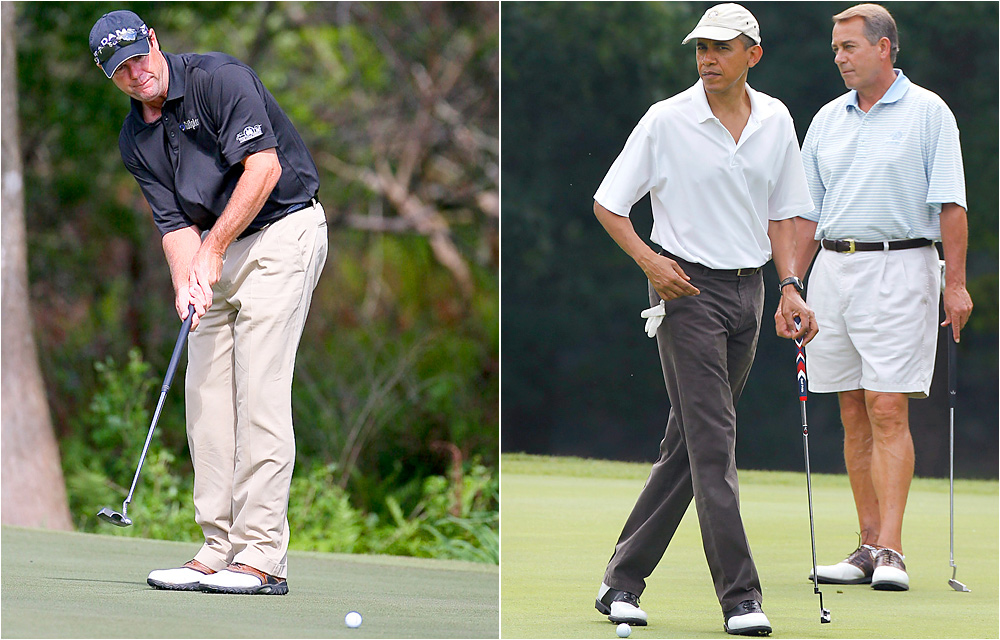Paul Azinger vs. Barack Obama                           Azinger is one of the most entertaining tweeters in golf, but he was rebuked by ESPN, where he works as an analyst during telecasts, for repeated shots at President Obama. In one post the golfer claimed to have created more jobs than the President.