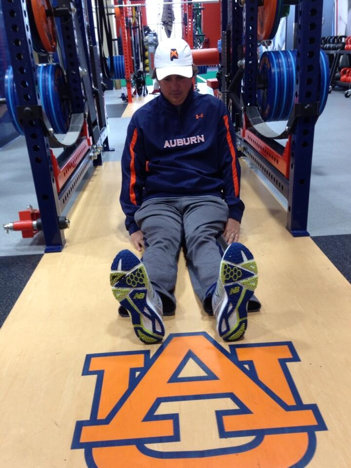 "Dufner visited his alma mater's spring football practice Friday morning and took advantage of the opportunity to strike his signature pose in the Auburn weight room. ""#dufnering in the Auburn football weight room. Everyday I am Dufnering"""