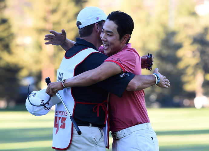 Bae hugs his caddie. The victory is the 28-year-old Bae's second on the PGA Tour. His first came at last year's HP Byron Nelson Championship in May.
