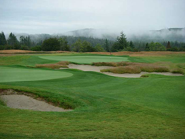 "Bandon Crossings Golf Course                           Bandon, Ore.                           6,855 yards, par 72                           Green fees: $33-$93                           541-347-3232, bandoncrossings.com                           ""Bandon on a budget"" best                           describes this low-key layout near                           the famed Bandon Dunes Resort.                           Designed by local boy Dan Hixson,                           this inland track plays around a dry                           river bottomland. Majestic coastal                           trees, classically sculpted bunkers and                           uneven terrain provide the main                           challenges. It's not Bandon Dunes, but                           if aching legs and wallet woes are an                           issue, this is a refreshing alternative,                           and well worth every penny."