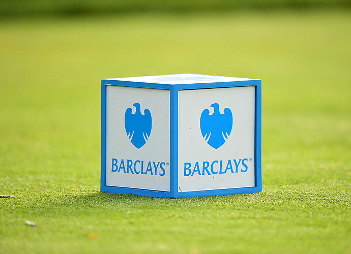 A tee marker Thursday at the 2014 Barclays.