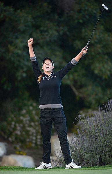"""My favorite moment on the golf course was this year, when I won the Kia Classic in a playoff. It was just a great feeling to be a second time winner on the LPGA, and that all the hard work paid off. I still get goose bumps when I think about seeing that putt go in in the playoff, and realizing that I won."""