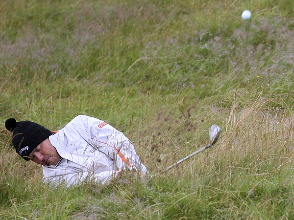 Rich Beem, winner of the 2002 PGA Championship, gave his second shot on No. 2 a mighty swing, but he still made bogey. He shot a one-under 70.