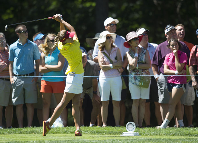 Spanish golfer Belen Mozo tees off during her second-round match.