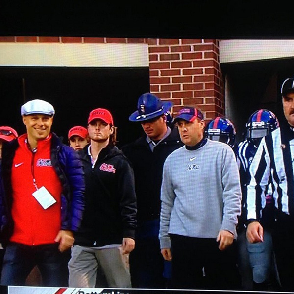 @bencranegolf Got to lead Ole Miss on the field tonight. Crazy experience. Total bucket list moment I never thought I'd have.