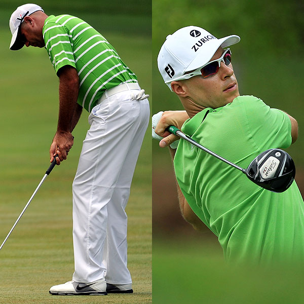 Green apple, or acid green, was also big. Like purple, it cycles in and out of the culture from time to time. It looks fresh and cool on players like Stewart Cink (left) and Ben Crane. Then, after a while, the eye grows tired of it.