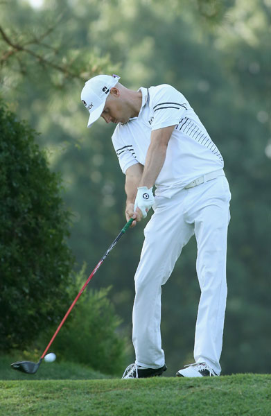 Ben Crane lays into a tee shot on the third hole during his second-round 65. Crane, -12, led Carl Pettersson and Jason Bohn by six shots when play was suspended in the second round.