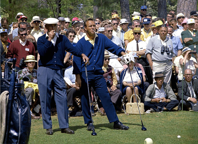Ben Hogan and Arnold Palmer wait to play their tee shots on the second hole during the 1966 Masters Tournament at Augusta National. Both finished behind Jack Nicklaus, who won his second consecutive title.