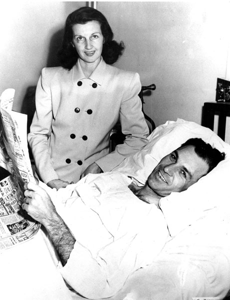 Ben Hogan, with wife Valerie, recuperates from his near-fatal auto accident in an El Paso, Texas, hospital in 1949. Hogan suffered a fractured pelvis, fractured collar bone, broken ankle bone, cracked rib and multiple bruises. Valerie emerged largely unscathed from the collision with a Greyhound Bus.