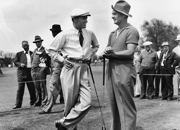 Ben Hogan and Jimmy Demaret play a practice round before the 1940 Masters. Demaret, who had won five of nine tournaments he entered that year, shot 67-72-70-71 (-8) to win the tournament. Hogan finished tied for 10th at +2.
