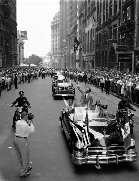 Ben Hogan is welcomed back from winning the 1953 British Open with a ticker-tape parade in New York City. Hogan arrived at Carnoustie two weeks before the tournament to prepare. It paid off as he shot 73-71-70-68 and won by four strokes.
