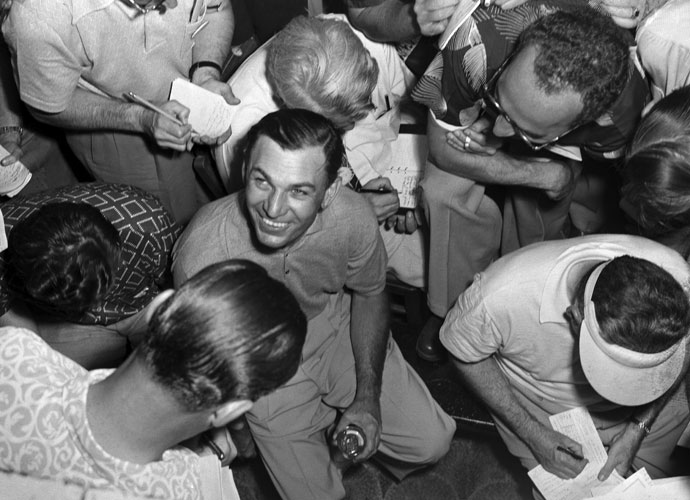 Sportswriters surround Ben Hogan at the Oakland Hills Country Club after he won the 1951 U.S. Open. Hogan shot 67 in the final round to secure his third Open title.