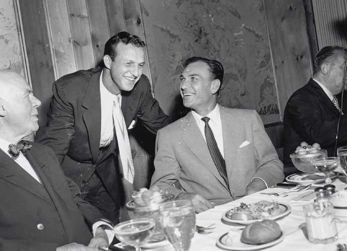 St. Louis Cardinals great Stan Musial talks with Ben Hogan during a luncheon at Toots Shor's restaurant in Manhattan in July of 1953. Hogan was being honored on his return to the country after winning the 1953 British Open. He added the victory at Carnoustie to his U.S. Open and Masters victories earlier in the year.