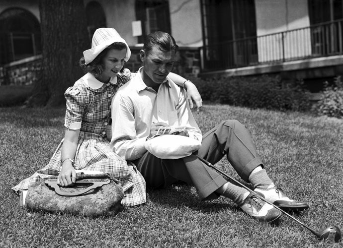 Ben and Valerie Hogan relax at Pomonok Country Club in Flushing, N.Y., after Hogan shot a 69 in the 1939 PGA Championship. Henry Picard won over Byron Nelson in the match-play format.
