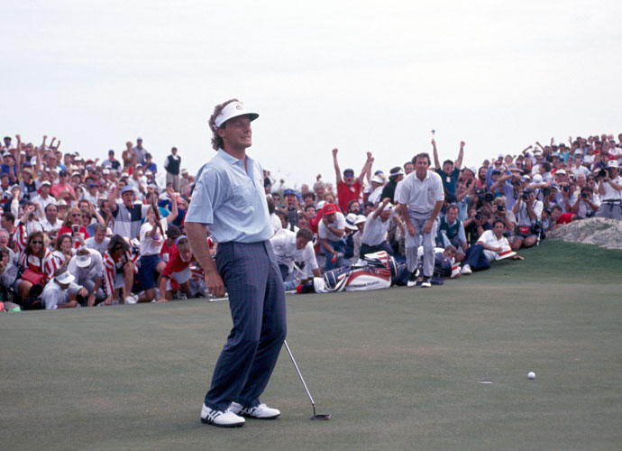 "2. 1991; U.S. 14 ½ Europe 13 ½                           ""The War by the Shore"" was among the most contentious matches ever. On the heels of the Gulf War, the U.S. was in a fighting mood. Many of the early skirmishes revolved around Seve Ballesteros and Paul Azinger. In the end, the battle of attrition was won by the U.S., thanks to one of history's most famous missed putts, Bernhard Langer's six-footer on the final green in his epic struggle against Hale Irwin."