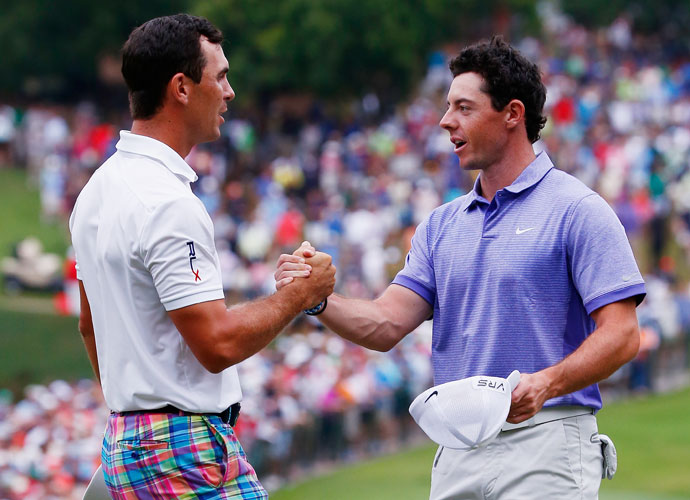 After sharing the 54-hole lead with Horschel, Rory McIlroy finished in a tie for second with Jim Furyk, three strokes back of Horschel. Here, McIlroy congratulates Horschel on his victory.