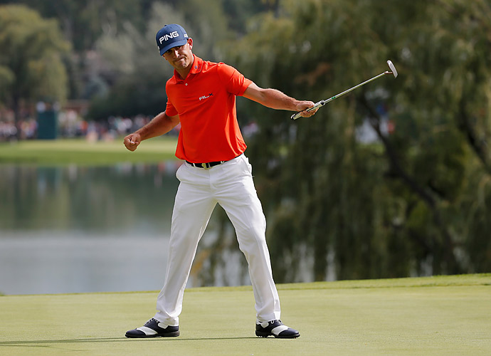 Billy Horschel fired a seven-under 63 to take a three-shot lead into the final round at the BMW Championship.