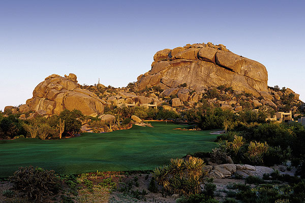 The Boulders Resort & Golden Door Spa                           Carefree, Ariz.                           866-397-6520, theboulders.com                           Tucked away in the high Sonoran Desert foothills north of Scottsdale, The Boulders is more mild west than Wild West. Beyond the guarded gatehouse, the only traffic you'll encounter is jackrabbits and roadrunners, and the occasional coyote chasing both. Jay Morrish's North and South courses ribbon through cactus forests and the gigantic rocks that give the resort its name. The front nine of the South could be the most spectacular in Arizona. The Golden Door spa will take the edge off any tough score, and eco-eaters will love the new organic garden.