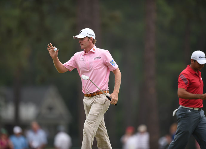 Brandt Snedeker acknowledges the crowd after putting out during his first round. He shot a 1-under 69 and was the early clubhouse leader.