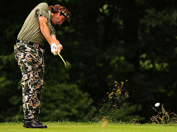 There is a fashion oddment or two in every major tournament. Bubba Watson wore full camouflage trousers with an olive-green, military style shirt. Watson was doing it for charity, as well as a patriotic nod to the venue and the occasion.