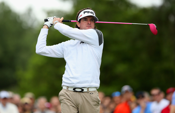 Masters champ Bubba Watson is using a Ping Anser putter with a customized finish that reflects sunlight in an array of pink and purple tones.