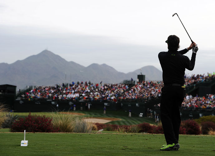 Bubba Watson plays a shot on the 16th hole during the second round of the Waste Management Phoenix Open.