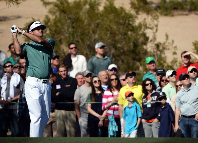 Bubba Watson plays a shot on the eighth hole during the third round of the Waste Management Phoenix Open.