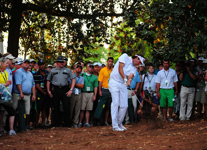 "Bubba Watson - 2012                                    There's likely no other player in the field who could have pulled off the shot Bubba hit on the way to victory in a playoff with Louis Oosthuizen. After a wayward drive on the downhill 10th found the trees right of the fairway, Bubba unleashed a huge hook with his pitching wedge that landed, spun, and settled 10 feet from the hole. Here's how Bubba described it: ""I hit my 52-degree, my gap wedge, hooked it about 40 yards, hit it about 15 feet off the ground until it got under the tree, and then it started rising -- pretty easy."" Oosthuizen made a bogey and Bubba went on the victory."