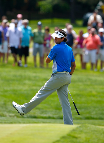 Watson reacts to a birdie putt. He shot an even par 72 to finish 12-under, alone in third one shot off the lead.
