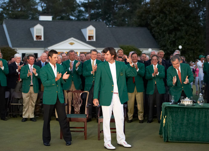 2012 Masters                             Two putts later, Bubba Watson was helped into the green jacket by Charl Schwartzel. It was Bubba's first major victory.