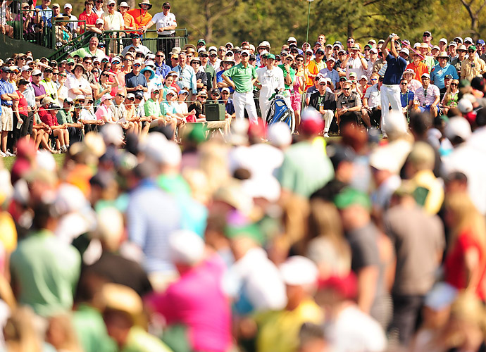 Bubba Watson on the tee surrounded by Masters patrons on Saturday at Augusta National.