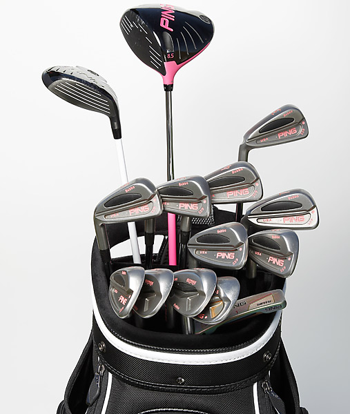 With custom pink trimming on his Ping G25 driver and Ping S59 irons, Bubba Watson's bag is unmistakable. (Photo taken 2/26/2013)
