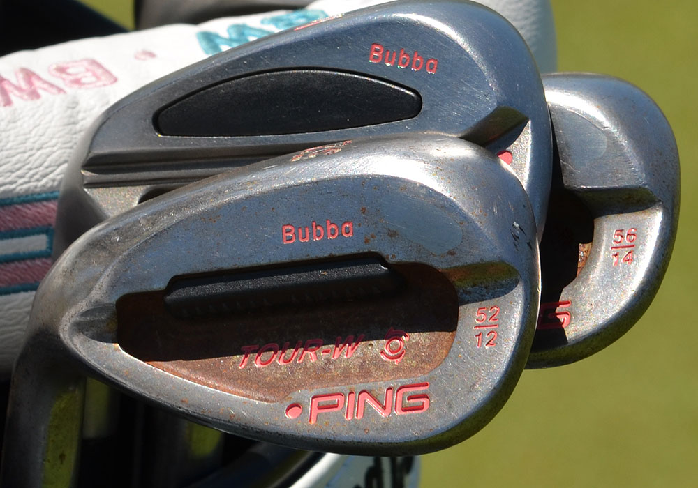 Bubba Watson uses Ping Tour-W wedges stamped with his name in his favorite color, pink.