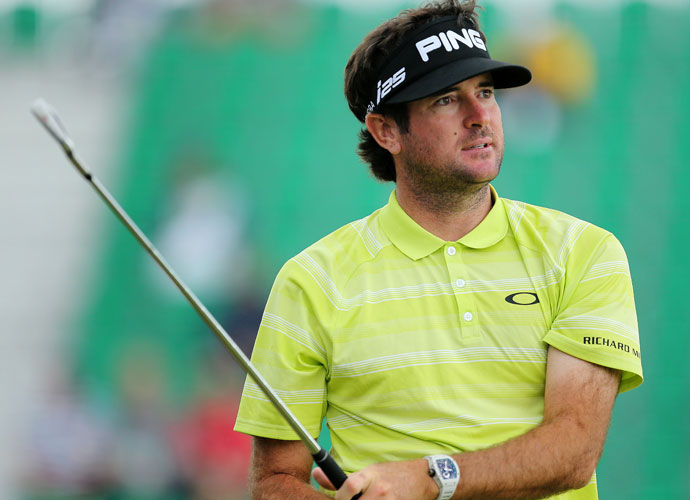 A short-sleeved Bubba Watson gets in some practice time on Monday.