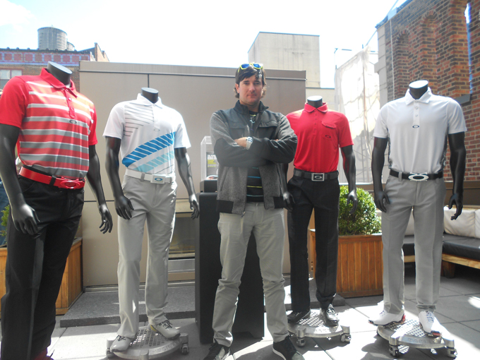 It's hard to believe that only one year ago, Bubba Watson was wearing Travis Matthew. Now with Oakley, Bubba visited NYC last week to showcase his Masters looks. I think he'll look great in all four outfits, but Thursday's cool red fade-out polo is my favorite.