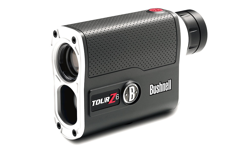 "Bushnell Tour Z6                        Type: Laser; $399; bushnellgolf.com                       The Tour Z6 is Bushnell's smallest and fastest laser range finder to date. The 8-ounce unit is engineered to factor in slope and display distance to one-half yard up to 125 yards (+/-1 yard up to 1,300 yards). ""Vivid Display"" technology enhances contrast, clarity and light in all conditions. Offers 6x magnification."