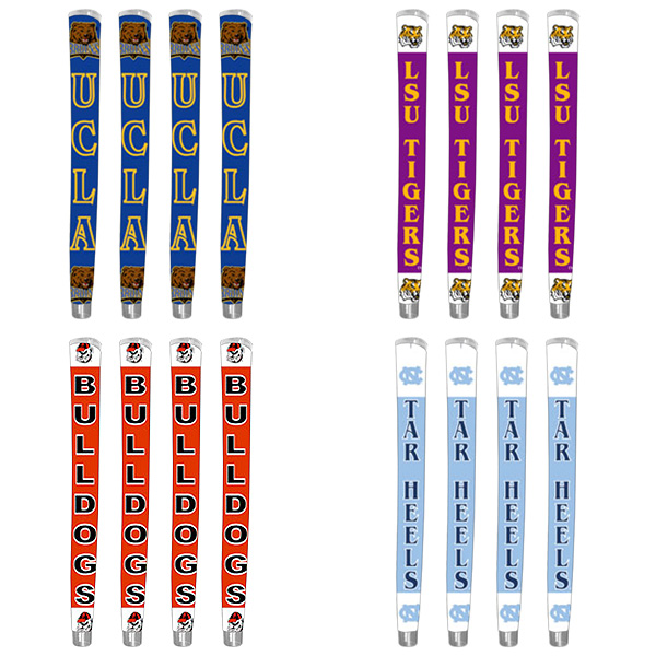 let you show your true colors no matter which team is your favorite. Under these polymer grips you can insert logos and colors for teams from the NFL, MLB, NHL and scores of colleges.                             cthrugrips.com