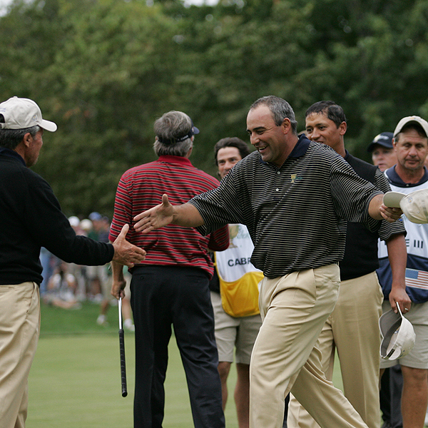 Angel Cabrera was a member of the 2005 President's Cup International team. He was teamed with 2005 U.S. Open champion Michael Campbell in Day 2's Fourball matches and the pair halved their match against Phil Mickelson and Chris DiMarco. Paired together again on Day 3, they lost to Mickelson and DiMarco 5 & 3 in Foursomes before halving an afternoon Fourball match against Davis Love III and Fred Couples.
