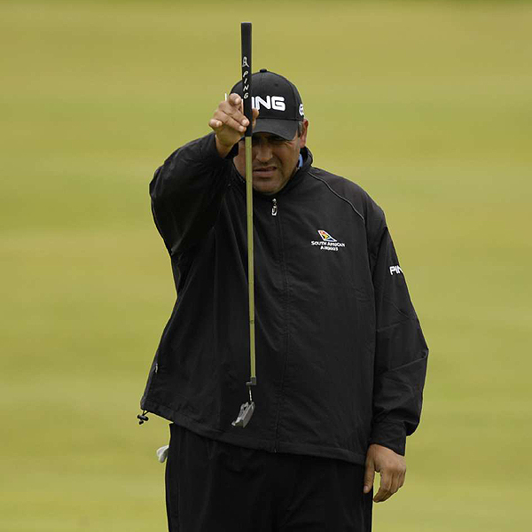 Angel Cabrera, winner of the U.S. Open in June, took dead aim at Carnoustie Thursday. The Argentine had a solid round of 68 and finished the day tied for third place.