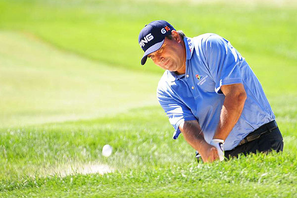 Angel Cabrera made four bogeys on his final seven holes to finish two over par after two rounds.