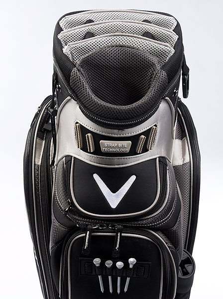 "Callaway Org. 14 Stadium                       $160, callawaygolf.com                       7 lbs. 11 oz.                        • A tiered ""stadium"" setup with 14 full-length dividers ensures that you won't have trouble finding and pulling the appropriate club. A full-length side pocket easily expands for extra storage space. Cart straps attach to dozens of flexible ""teeth"" (dubbed ""strap bite"" technology) rather than looping through a bag handle."