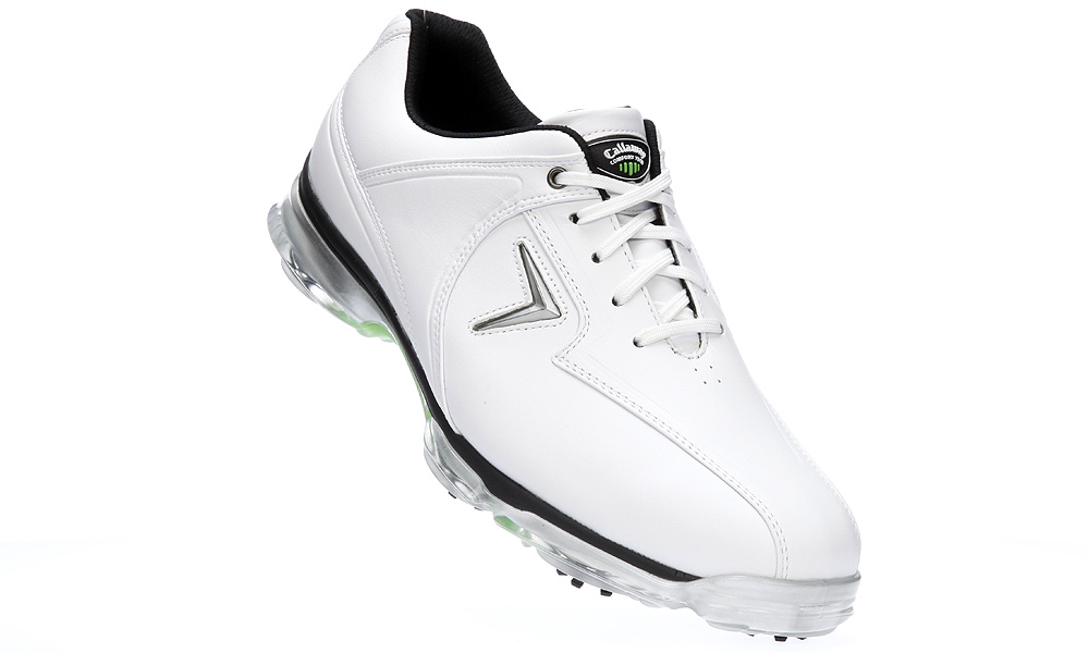 "Callaway Xtreme, $125                       callawaygolf.com | Buy on golf.com                       Comes with a waterproof leather upper, a ""Comfort Tech Gel Tongue,"" an OrthoLite molded insole and ""PINS"" spikes to decrease pressure on the feet."