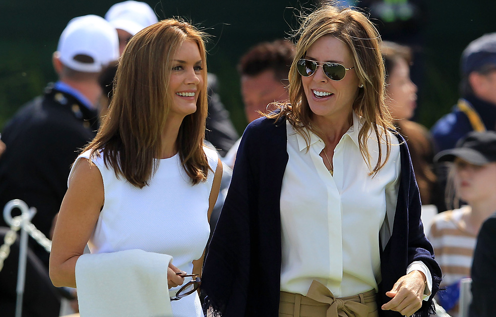 Kirsten Norman (left), wife of Greg Norman, and Midge Trammell, girlfriend of Fred Couples, were introduced together.