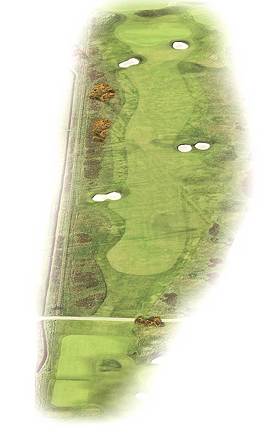 No. 7, Plantation                       410 yards, par 4                       Like No. 6, out of bounds extends down the entire left side, so a controlled tee shot that avoids the fairway bunkers on the right is key. The two bunkers just short of the green have very high walls; players who find these traps will face a challenging escape.