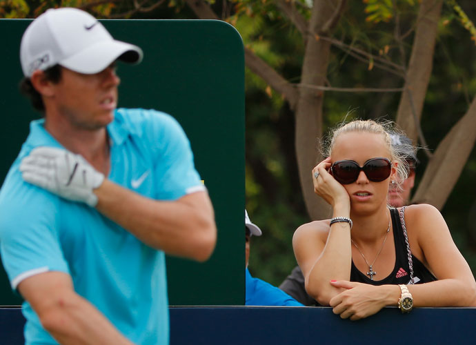Nov. 17, 2013: Caroline watches Rory during the final round of the DP World Championships in Dubai.
