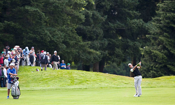 Charl Schwartzel made two birdies and no bogeys on the back nine to salvage a one-over 71.
